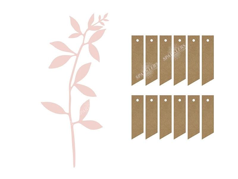 Branche avec décor de feuilles, rose poudré avec étiquettes