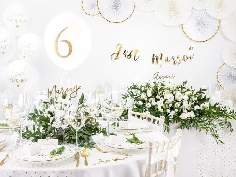 Ballons 30cm, Just Married, Pastel Blanc Pur lot de 50