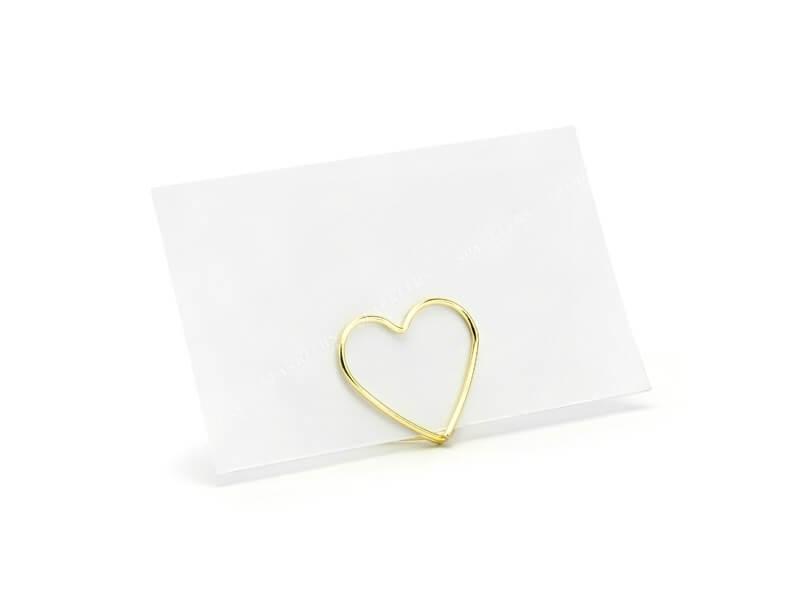 Lot de 10 portes cartes Coeurs, or, 2,5 cm