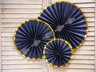 Rosaces décoratives bleues à bords dorés  (3 pièces)