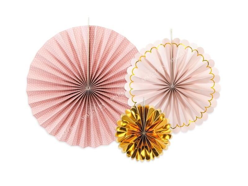 Rosaces décoratives roses & or  (3 pièces)