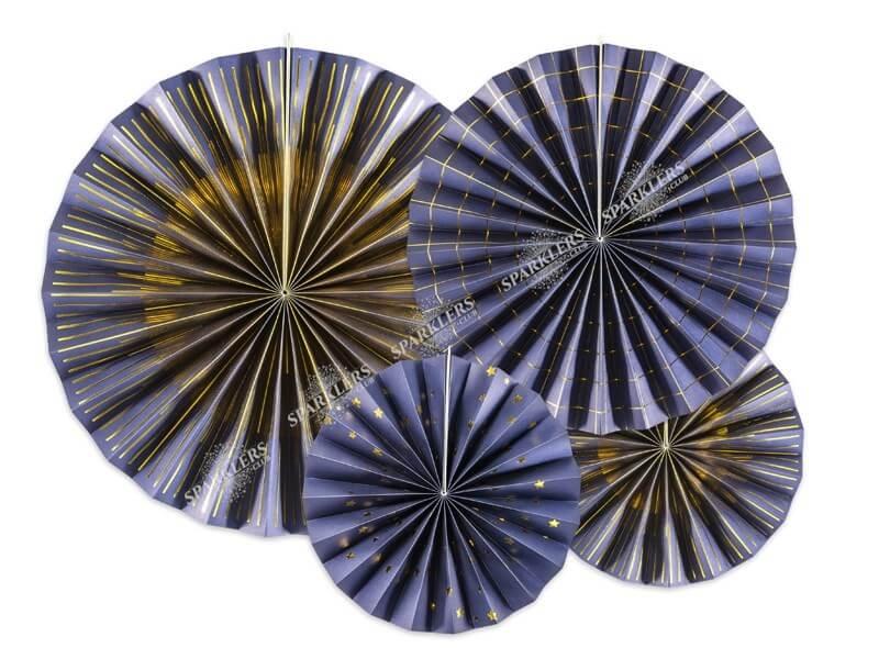 Rosaces décoratives bleues avec motifs dorés  (4 pièces)