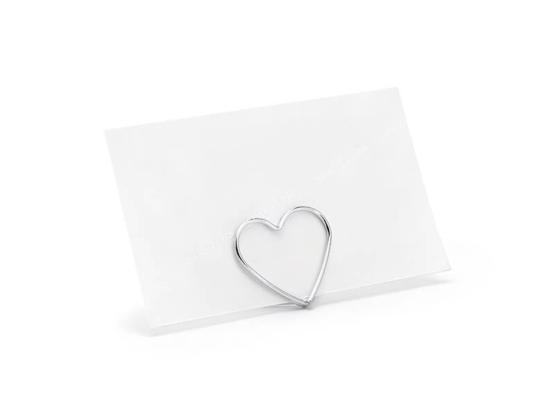 Lot de 10 portes cartes Coeurs, argent, 2,5 cm