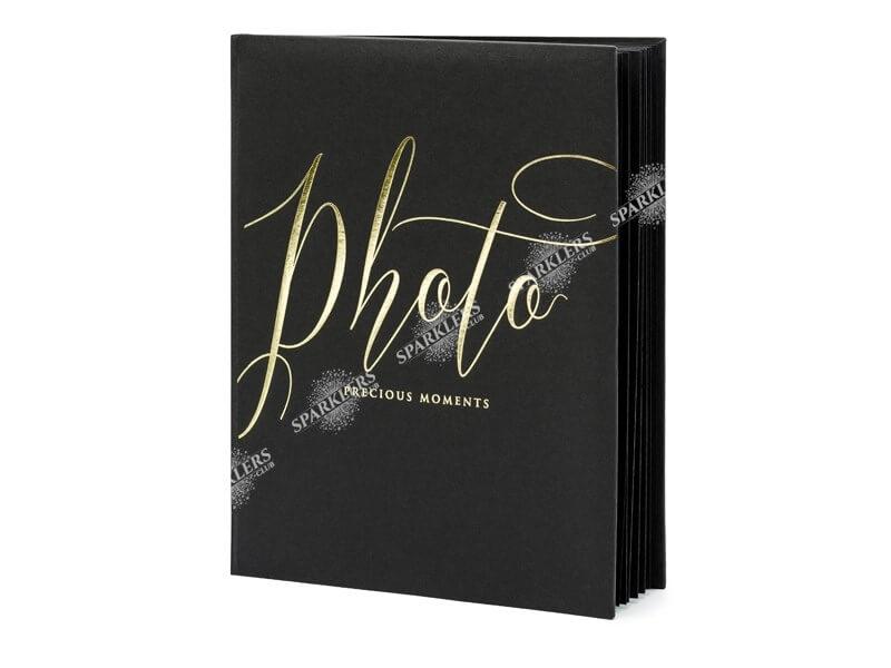 Album photo noir avec inscription doré