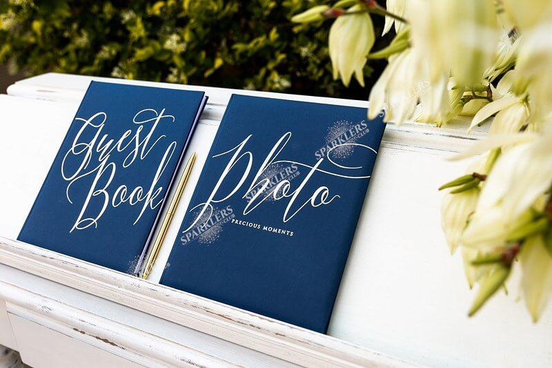 Album photo bleu avec inscription doré