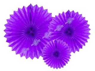 Eventail en tissu, violet, 20-40cm lot de 3
