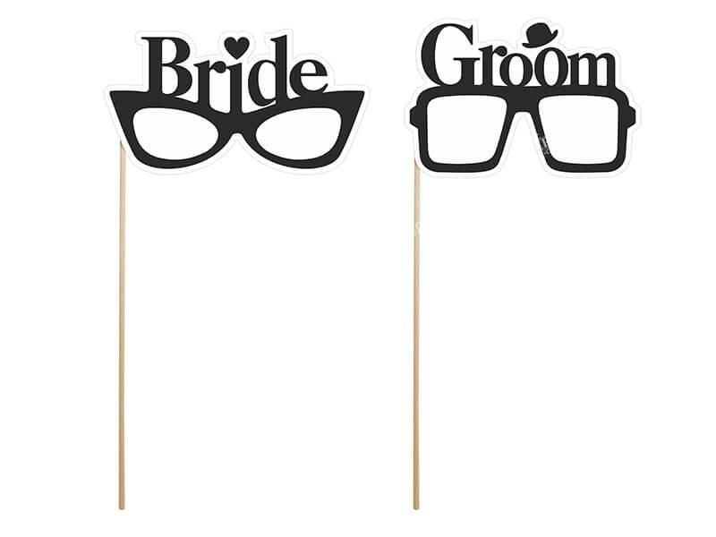 Lot de 2 Props Bride & Groom Glasses pour photo marriage