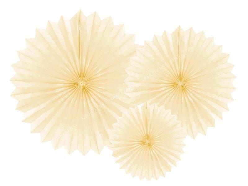 Eventail en tissu, crème légère, 20-40cm lot de 3