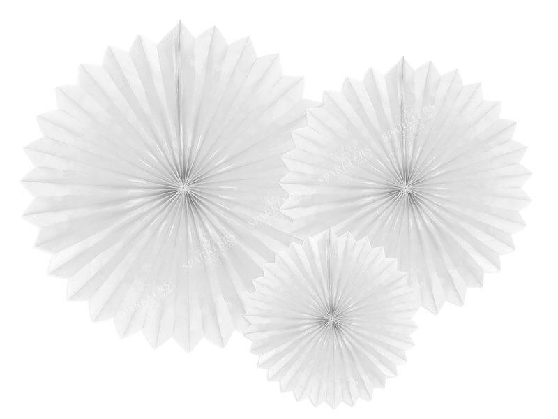 Eventail en tissu, blanc, 20-40cm lot de 3