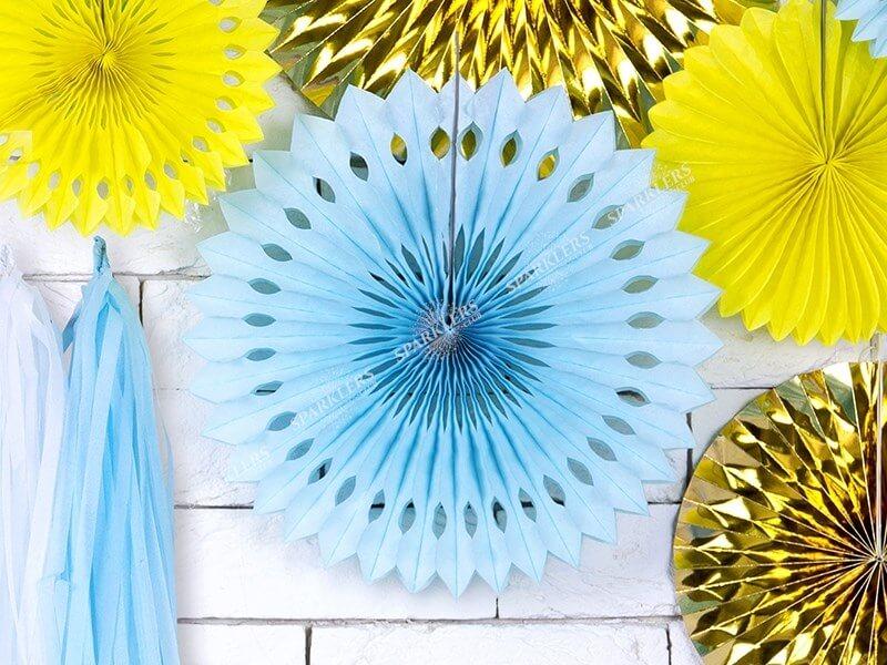 Eventail en tissu, bleu ciel clair, 20-30cm lot de 3