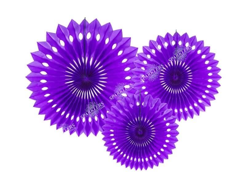 Eventail en tissu, violet, 20-30cm (lot de 3)