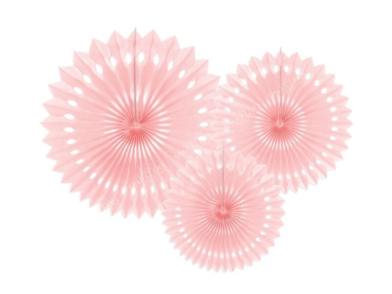 Eventail en tissu, rose pâle, 20-30cm lot de 3