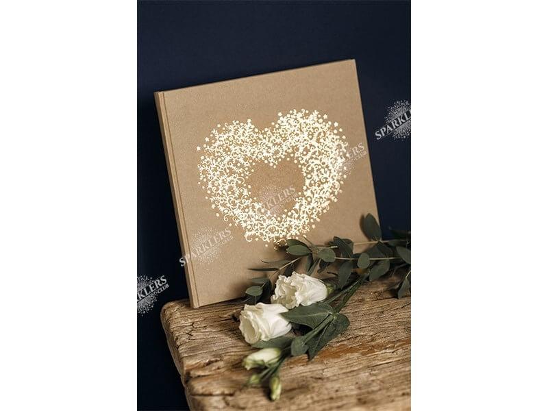 Livre d'or Mariage kraft avec ornement or 22 pages