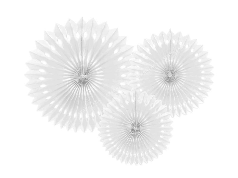Eventail en tissu, blanc, 20-30cm lot de 3