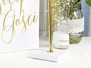 Porte stylo blanc & stylo or
