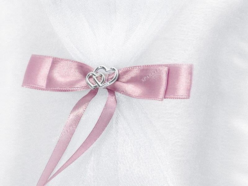 Coussin porte alliance mariage coussiné blanc lacet rose