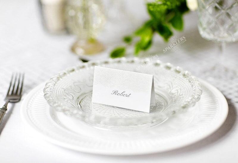 Marque place en papier blanc avec ornement perle (Lot de 10)