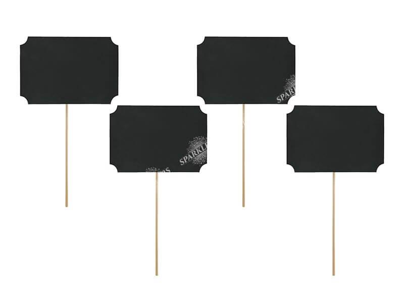 Marque  table sur bâtons et cadre noir (lot de 4)