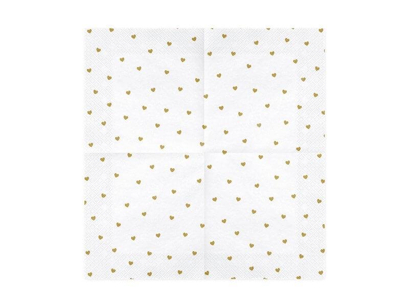 Serviette en papier blanche avec coeur or (lot de 20)