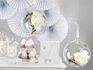 Boule de verre avec ruban ø10cm (Lot de 4)