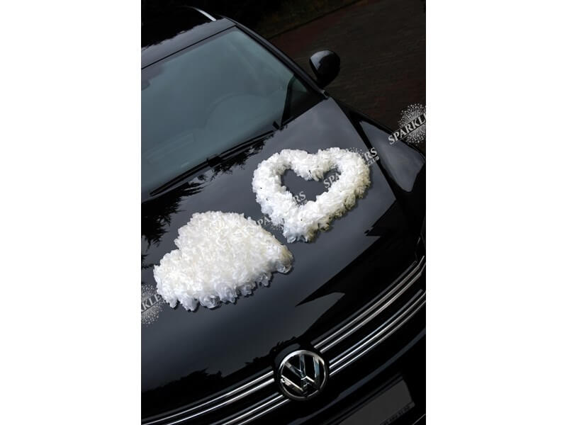 Coeur en fleurs blanches 50 cm