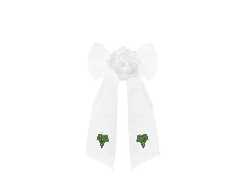 Noeud en organza blanc avec rose blanche (lot de 4)