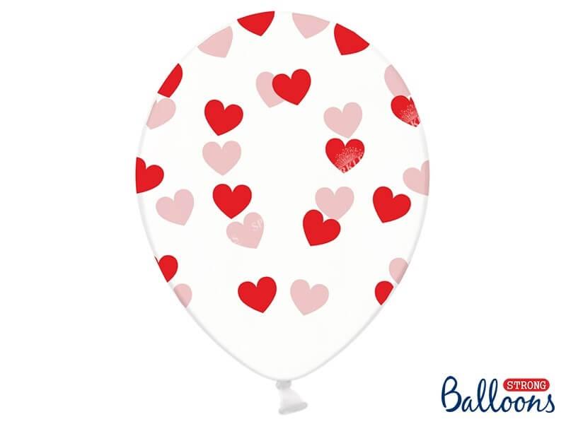 Lot de 50 ballons transparents motifs coeurs rouges et rose