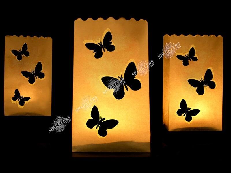 Lanterne photophore mariage avec papillons x10