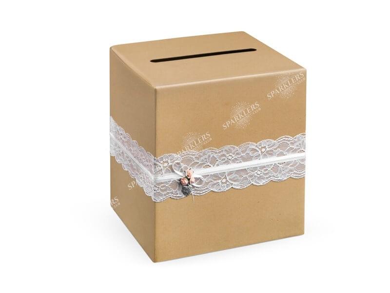 Urne en papier kraft avec dentelle blanche