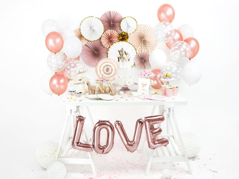 Ballon Lettre O Or Rose