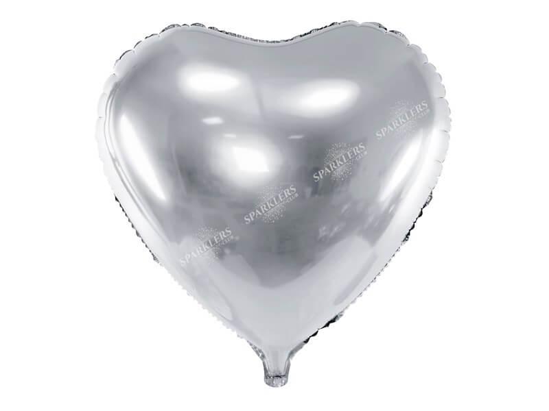 Ballon Coeur Argent métallique 61cm