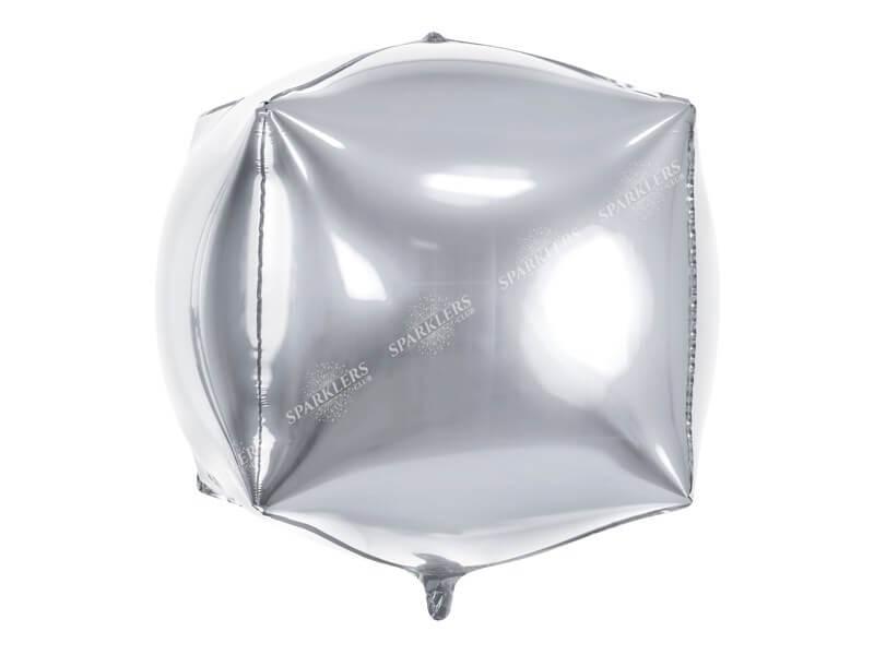 Ballon Cube métallique Argent
