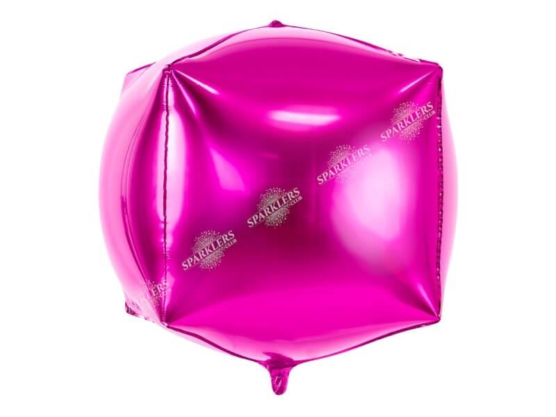 Ballon Cube métallique rose foncé