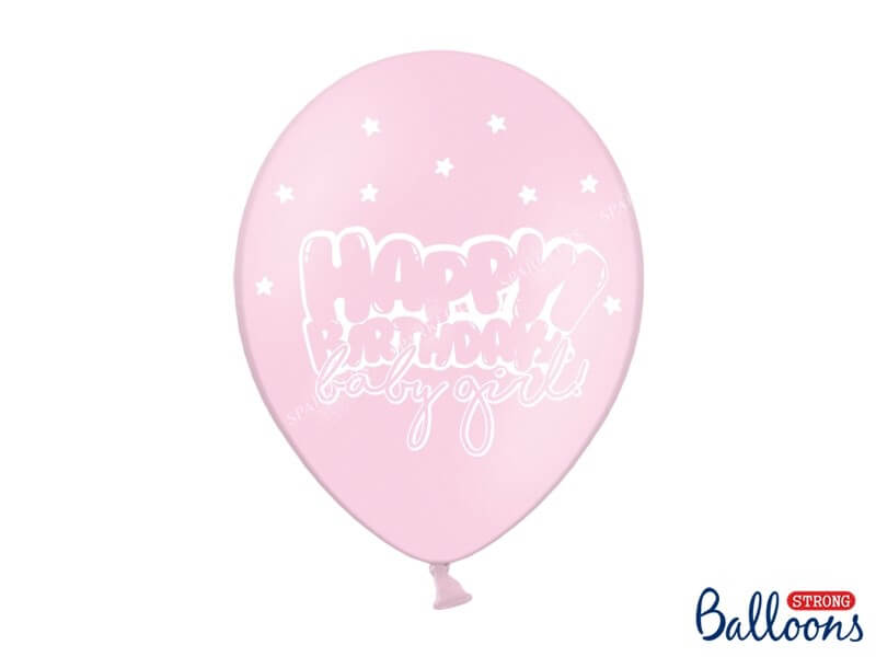 "Lot de 10 Ballons ""HAPPY BIRTHDAY BABY GIRL"" Roses"