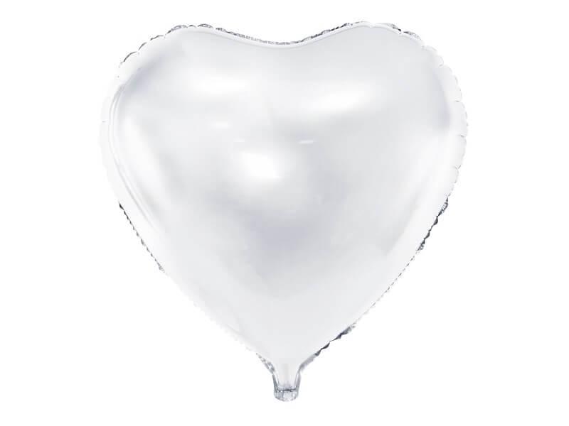 Ballon Coeur Blanc métallique 61cm