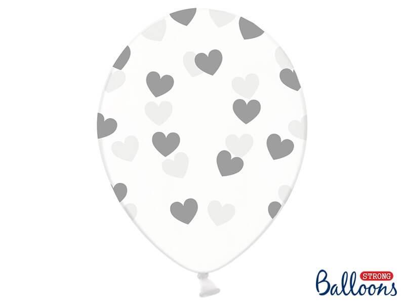Lot de 50 ballons transparents avec motifs coeur argent