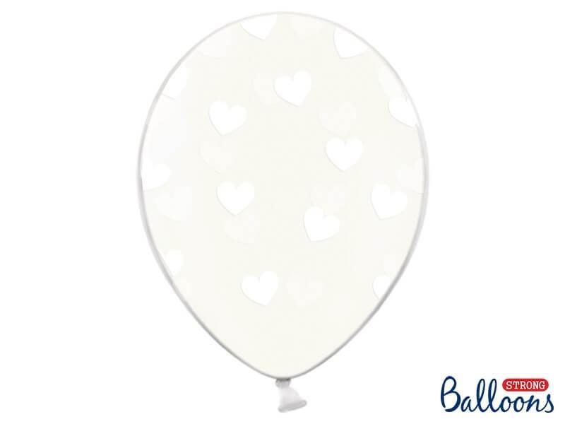 Lot de 50 ballons transparents avec motif coeur blanc