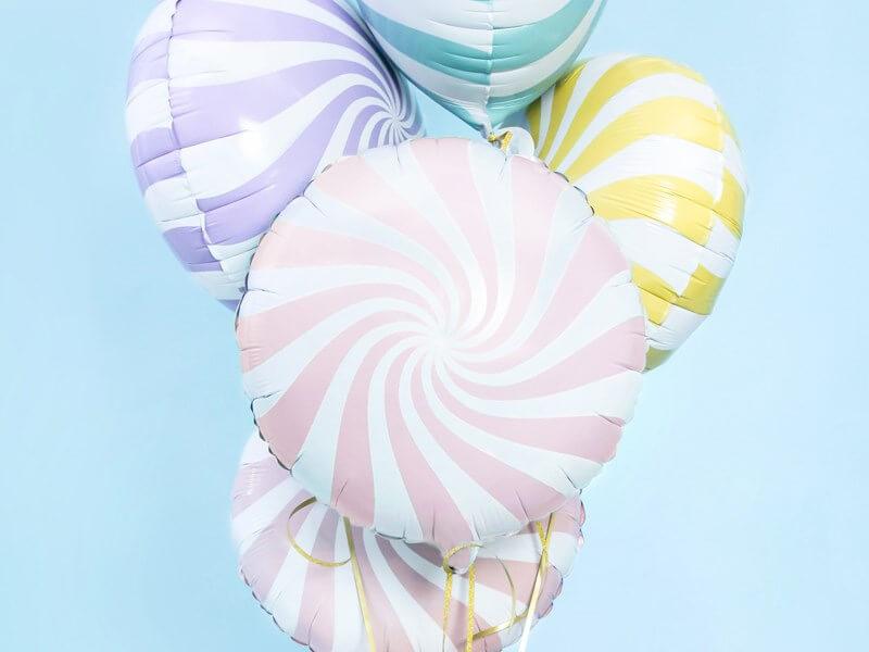 Ballon Aluminium Sucette Rose et Blanc 45cm