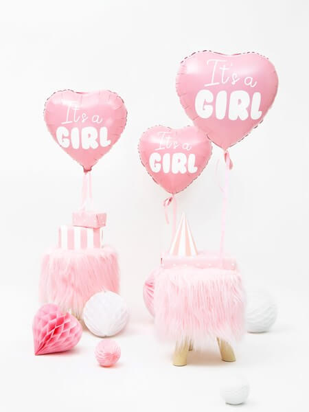 "Ballon Coeur Rose ""It's a Girl"" 45cm"