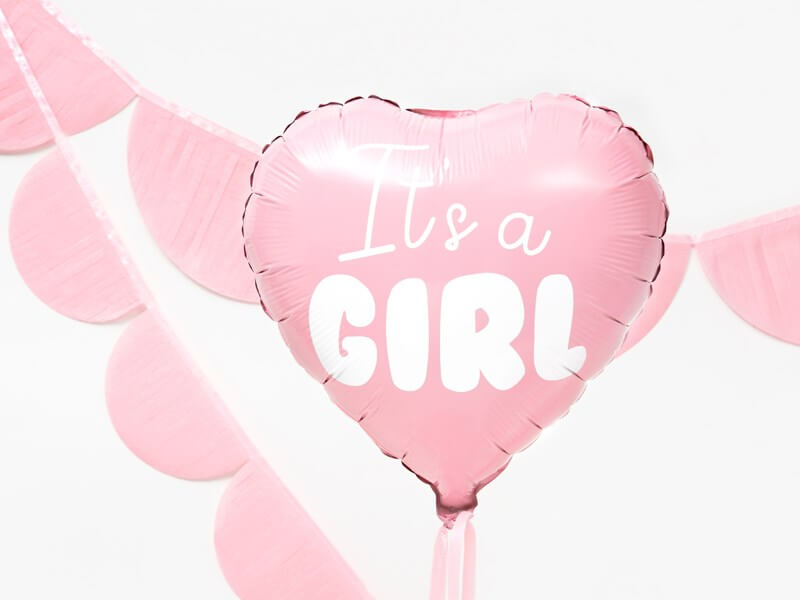 "Ballon Coeur Rose ""It's a Girl"" 45cm"
