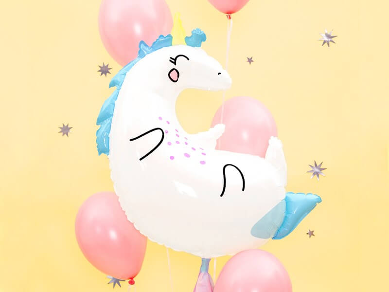 Ballon Licorne blanche et bleu 70x75cm