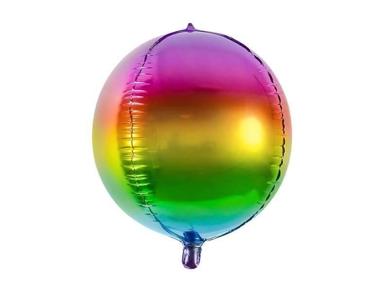 Ballon rond métallique Arc en Ciel 40cm