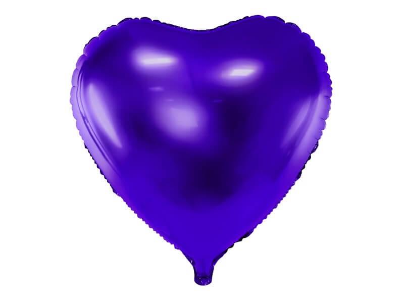 Ballon Coeur Violet métallique 45cm