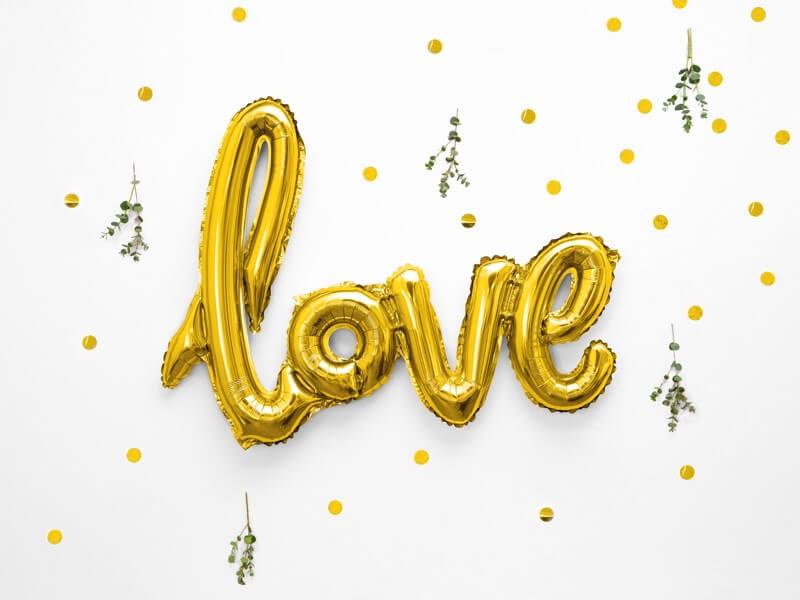 Ballon Métallique Love Or 73x59cm
