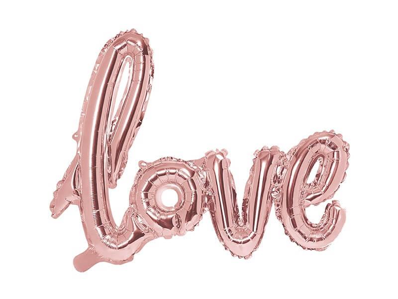 Ballon Métallique Love Or Rose 73x59cm