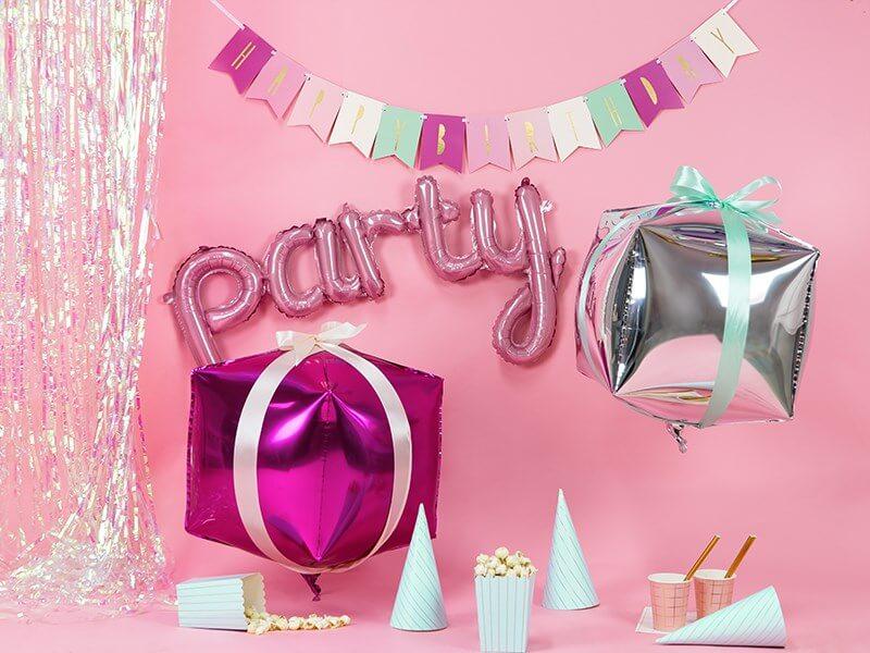 Ballon Métallique Party Rose 80x40cm