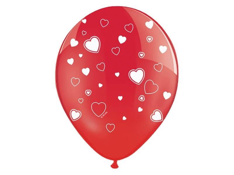 Lot de 10 ballons rouges avec motifs coeurs blancs