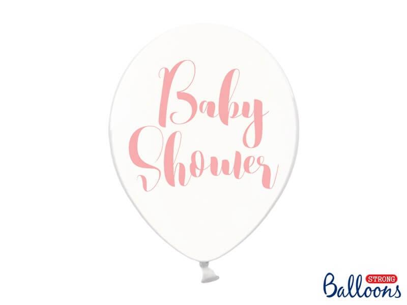 """Lot de 10 ballons transparents avec """"Baby Shower"""" Rose"""