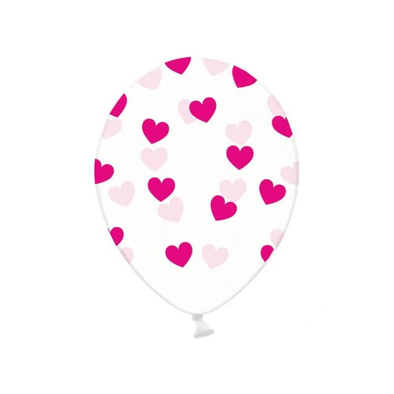 Lot de 10 ballons transparents avec motifs coeurs fuschias