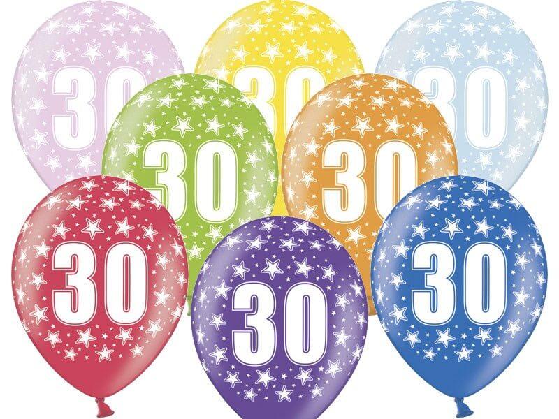 """Ballons avec inscription """"30"""" (Lot de 6)"""